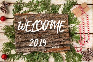 WELCOME 2019 lettering design. Winter holiday composition.
