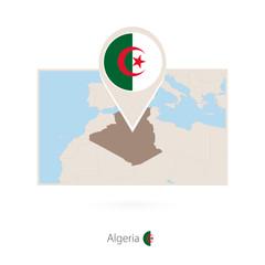 Rectangular map of Algeria with pin icon of Algeria