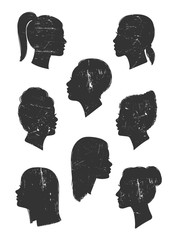 Various women's head silhouettes. Hand drawn vector set. All elements are isolated