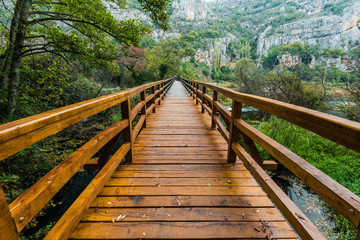 Printed kitchen splashbacks Bridges Wooden bridge in Krka National Park,Croatia