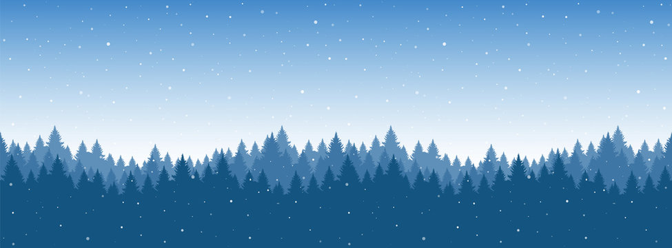 Vector illustration: Seamless snowy pine forest. Christmas banner template