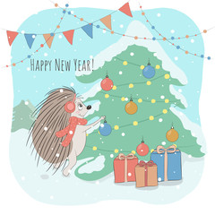 Christmas and New Year vector illustration with lovely hedgehog decorating fir tree and Happy New Year phrase. Perfect for kids cards posters, book illustartion and other design project. Eps10.
