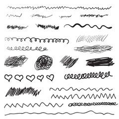 Scribble brush strokes set, logo design element. Set of vector hand drawn line borders