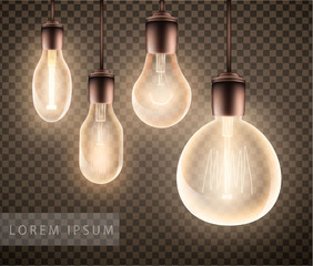 figure set of a luminous light bulb on a transparent