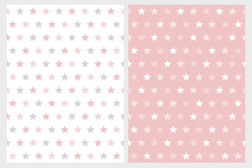 Abstract Star Vector Patterns. White, Light Gray and Pink Stars. White and Blue Background. Simple Geometric Pastel Color Design.