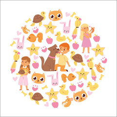 Animals friendship background with kids characters and little pets vector illustration.