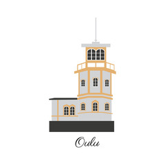 Finnish travel cartoon vector landmark, flat european colorful building, Castle of Oulu, Finland, illustration isolated on white background, travel decorative scandinavian icon for design advertising