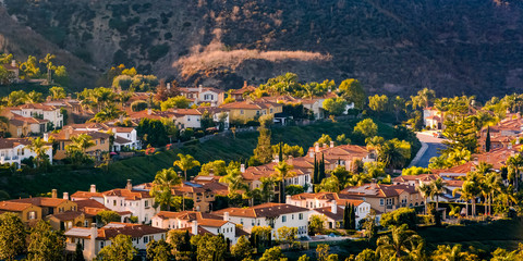 Sunlit homes on a hill in San Clemente California