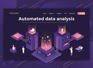 Flat Modern design of website template - Automated data analysis
