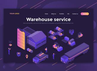 Flat Modern design of website template - Warehouse service