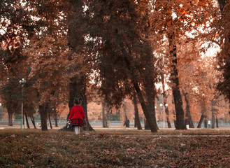 Little girl in red coat with toy in hand alone in autumn forest, child is lost.