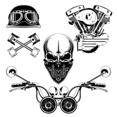 Set of vector images engine, skull, moto helmet, pistons, steering wheel.