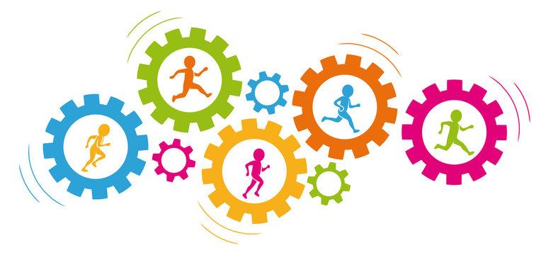 Zusammenarbeit / Teamwork: Eine Gruppe farbiger Figuren läuft in drehenden Zahnrädern / Flat Design / Vektor / Icon