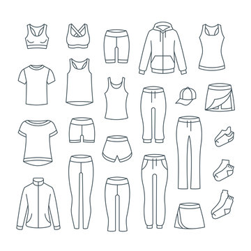 Women casual clothes for fitness training. Basic garments for gym workout. Vector thin line icons. Outline outfit for active girl. Linear sport style shirts, pants, jackets, tops, shorts, skirt, socks