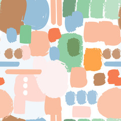 Wall Mural - Colored abstract shapes. Vector seamless pattern