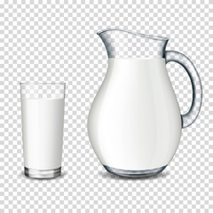 realistic transparent glass and jug with milk isolated