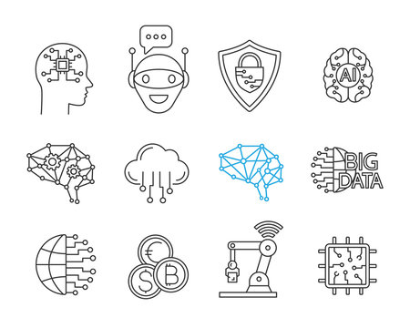 Artificial intelligence linear icons set