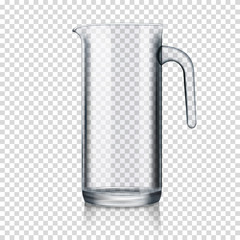 realistic transparent glass jug isolated
