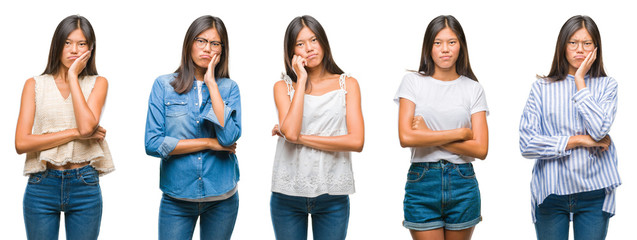 Collage of chinese asian woman over isolated background thinking looking tired and bored with depression problems with crossed arms.