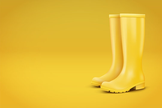 Autumn Fashion Advert Illustration. Pair of yellow rubber rain boots on yellow background. Season sale and marketing. Shopping poster with copy space in trendy color. Vector