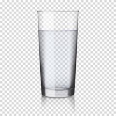 Fototapeta realistic transparent glass of water isolated  obraz