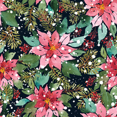 Seamless watercolor Christmas pattern with poinsettia, spruce and red berries on dark background in snow