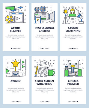 Vector web site linear art onboarding screens template. Movie industry objects, studo and cinema. Menu banners for website and mobile app development. Modern design flat illustration.