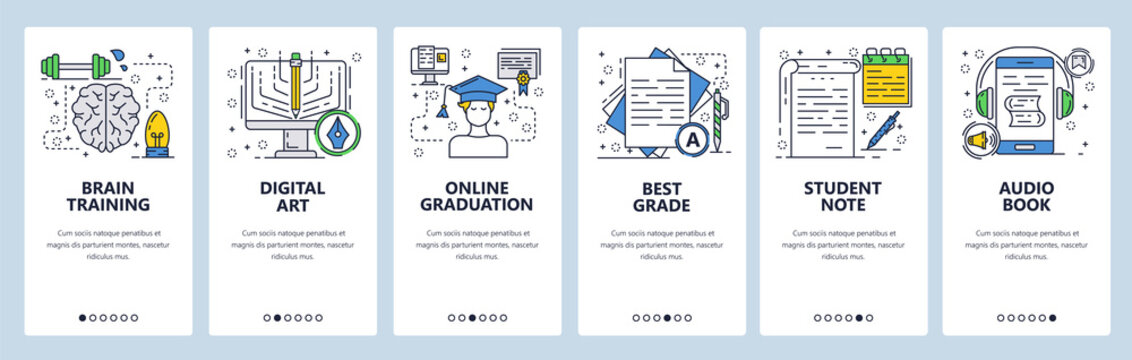 Vector web site linear art onboarding screens template. Online school education and brain training. Menu banners for website and mobile app development. Modern design flat illustration.
