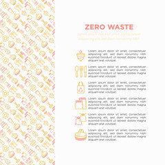 Zero waste concept with thin line icons: menstrual cup, safety razor, glass jar, natural deodorant, french press, metal scissors, body brush, wooden comb. Vector illustration, print media template.