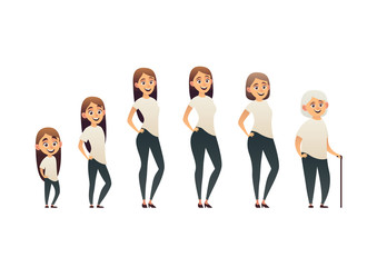 Character of a woman in different ages generation of people and stages of growing up