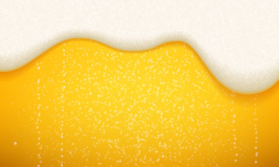 Obraz Beer foam and bubbles background. Vector seamless realistic craft beer with flowing foam and bubbles - fototapety do salonu