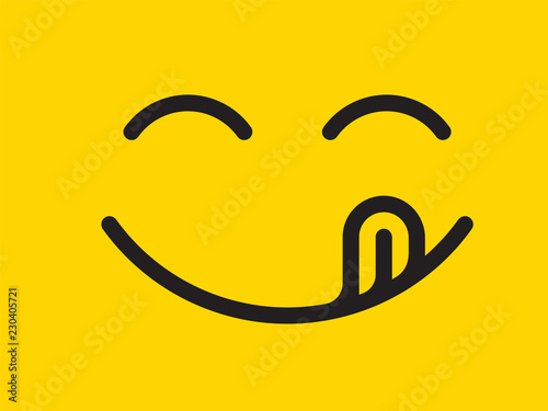Yummy Smile Vector Cartoon Line Emoticon With Tongue Lick Mouth