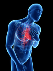 3d rendered illustration of a man having pain in the chest