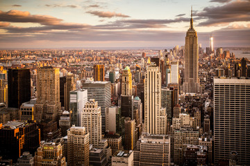 Spoed Fotobehang New York City Beautiful sunset over skyline of New York City Midtown Manhattan
