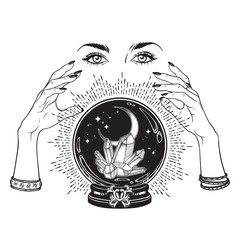 Aluminium Prints Halloween Hand drawn magic crystal ball with gems and crescent moon in hands of fortune teller line art and dot work. Boho chic tattoo, poster, tapestry or altar veil print design vector illustration.