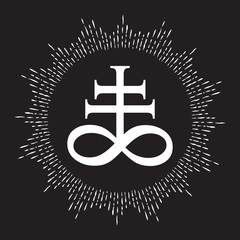 Hand drawn Leviathan Cross alchemical symbol for sulphur, associated with the fire and brimstone of Hell. Black and white isolated vector illustration. Blackwork, flash tattoo or print design.