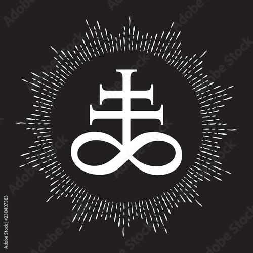 Hand drawn Leviathan Cross alchemical symbol for sulphur, associated