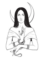 Beautiful brunette witch with serpent in her hands and crescent moon above her head line art and dot work. Boho chic tattoo, poster, tapestry or altar veil print design vector illustration.
