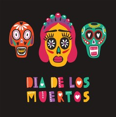 Bright colored decorative composition with Dia De Los Muertos inscription, Mexican calaveras or skulls, Catrina's face. Festive vector illustration for Day of The Dead, cultural event celebration.