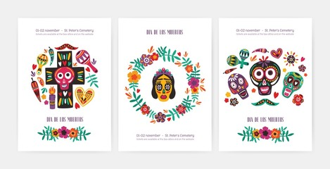 Bundle of flyer, poster or party invitation templates with Mexican calaveras or skulls, Catrina's face, cross, flowers and candles. Motley vector illustration for Day of The Dead festival promotion.