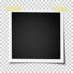Retro realistic square photo frame with straight edges on two pieces of sticky, adhesive tape placed on transparent background. Vector template photo design.