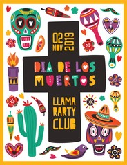 Bright colored poster template decorated by Mexican skulls, candles, peppers, maracas, sombrero and cross. Vector illustration for traditional Day of The Dead celebration, party announcement.
