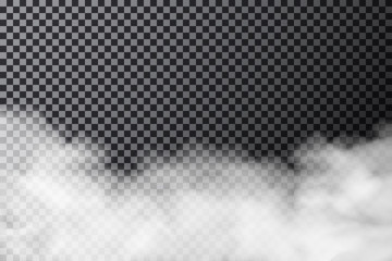Smoke cloud on transparent background. Realistic fog or mist texture isolated on background