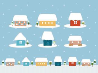 かわいい家のアイコン素材(冬)