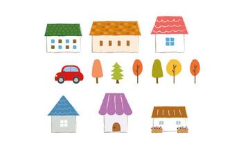 かわいい家の素材(秋)