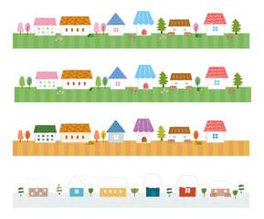 家のライン素材(春夏秋冬)