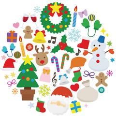 クリスマスアイコン円形_カラー