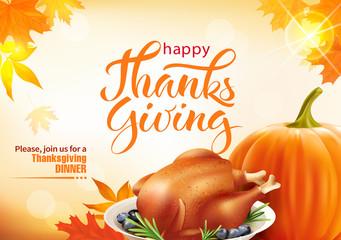 Design template for Thanksgiving dinner invitation. Vector illustration.