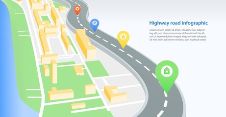 Colorful horizontal banner template with highway or road crossing city with map pins or location marks on it and place for text. Modern vector illustration for navigation service advertisement.