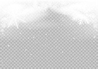 Snow falls winter sky clouds on transparent background. Frosty close-up wintry snowflakes. Ice shape pattern. Christmas holiday decoration backdrop
